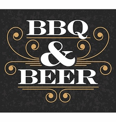 Barbecue and beer emblem vector