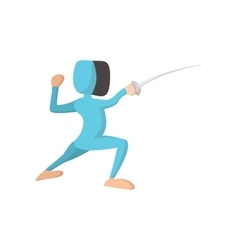 Fencing athlete cartoon icon vector