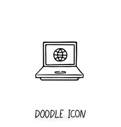 Doodle laptop icon  netbook vector