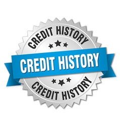Credit history 3d silver badge with blue ribbon vector