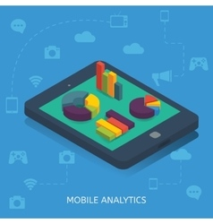 Mobile analytics isometric design vector