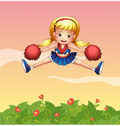 A cheerleader in the garden vector image