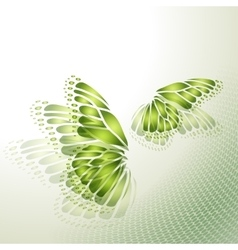 Abstract green background with butterfly vector image