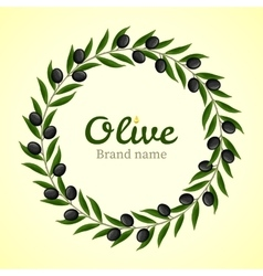Black olive branches wreath vector