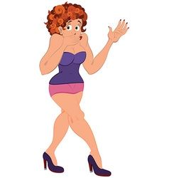 Cartoon girl in pink mini skirt covering her mouth vector image