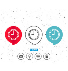 Clock line icon time or watch sign vector