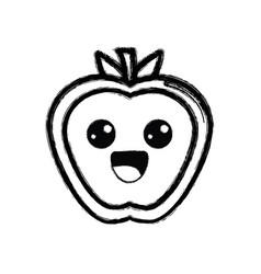 contour kawaii cute happy apple fruit vector image vector image