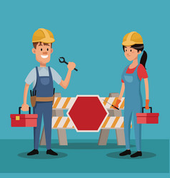 Couple people worker construction uniform tools vector