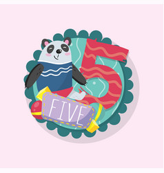 education children s card with funny panda and vector image