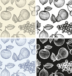 Fruits patterns BW vector image vector image