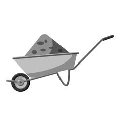 Gardening wheelbarrow icon gray monochrome style vector