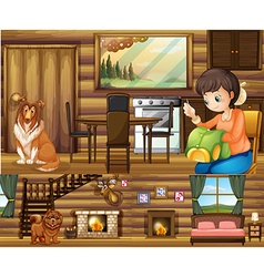 Girl and dogs in different rooms in the house vector