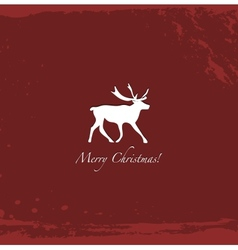 Grunge red vintage reindeer background vector image