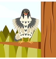 Happy Falcon on the Tree flat background vector image