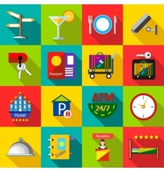 Hotel icons set in flat style vector image