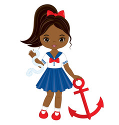 Little african american girl with anchor vector