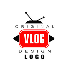 Logo design for vlog or videoblog emblem vector
