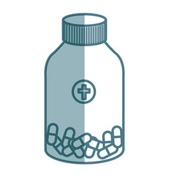 Medicine bottle with capsules isolated icon vector
