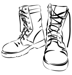 Military leather worn boots vector
