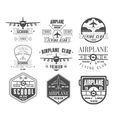 Monochrome airplane club emblems vector