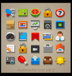 multimedia icon set-2 vector image vector image