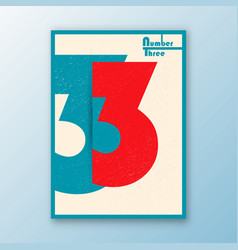 Number 3 interior poster vector