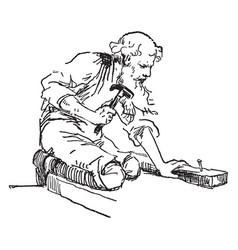 Old man hammering a nail vintage vector