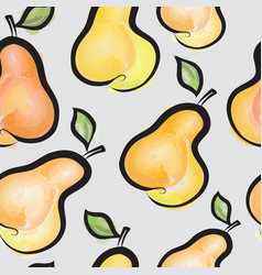 Pear watercolor seamless pattern juicy fruits vector