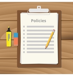 Policies policy document checklist list with vector