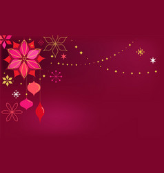 red christmas card background with flowers vector image vector image