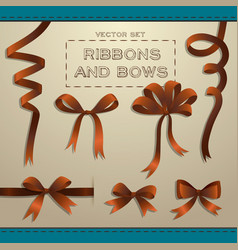 Ribbons and bows set vector