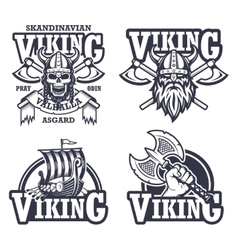 Set of viking emblems vector image vector image