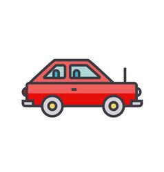 simple cute car vehicle flat line vector image