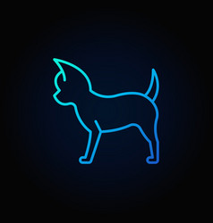 small dog blue line icon vector image vector image