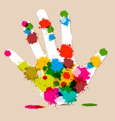 Splash palm hand colorful vector