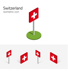 Switzerland flag set of 3d isometric icons vector