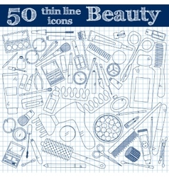 Tools for makeup Set of 50 cosmetic icons in thin vector image