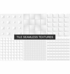 White tile seamless geometric textures vector