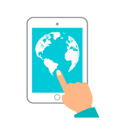 world map in dots tablet in hands on white vector image