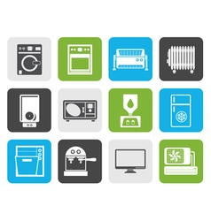 Flat home electronics and equipment icons vector