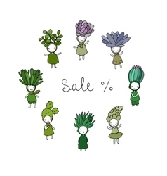 Graphic set with cute cartoon succulents vector image