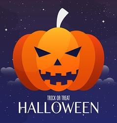 Scary jack o lantern halloween pumpkin on night vector