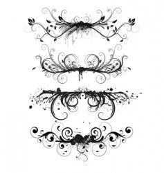 grunge floral elements vector image