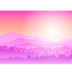 Mountain sunrise pink vector