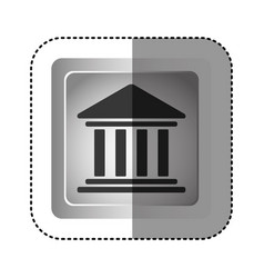 sticker grayscale square frame with parthenon icon vector image