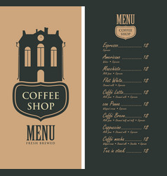 Menu for coffee shop with old house and price vector