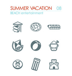 Beach entertainment icon set summer vacation vector