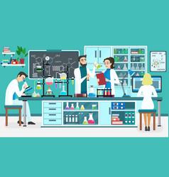 Laboratory people assistants working in scientific vector