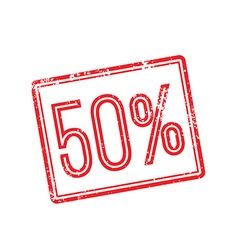 50 off red rubber stamp on white vector