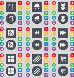 File cloud flower rss rewind apps clip shopping vector